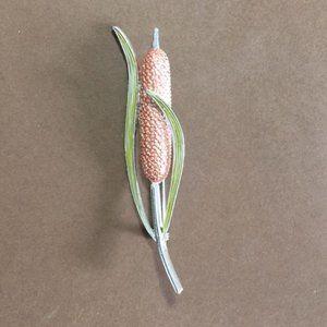 CATTAIL Pin Brooch Enamel Silver Tone